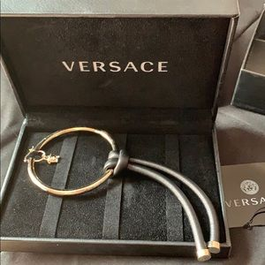 Versace Medusa drop leather hoop earring